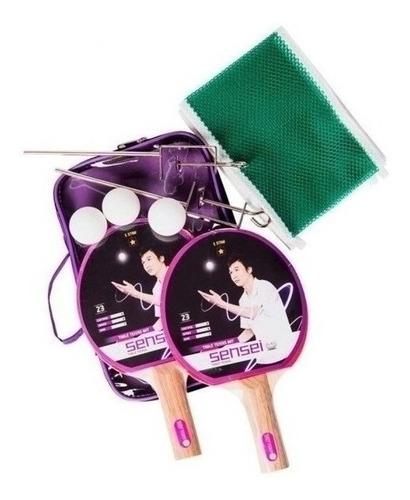 set ping pong sensei 2 paletas + 3 pelotas + red cuotas