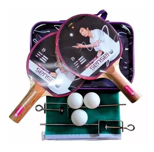 set ping pong sensei 2 paletas + 3 pelotas + red tenis mesa