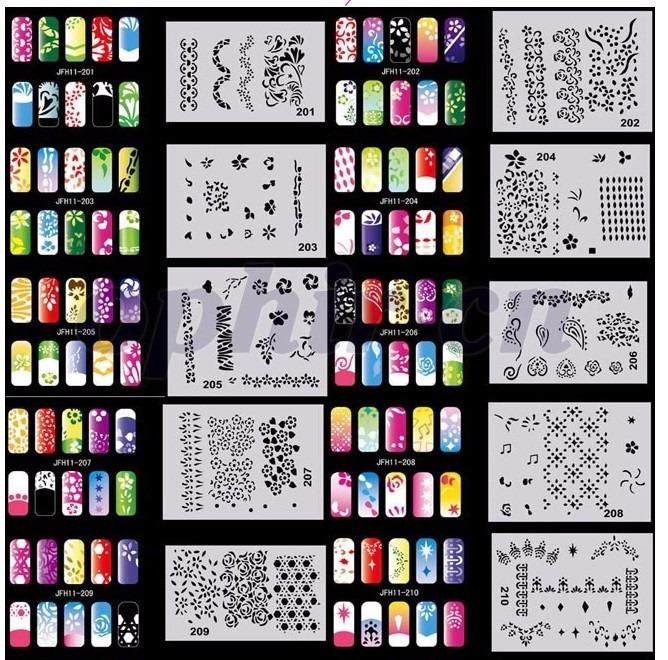 Set Plantillas Y Pinturas Para Decorar Uñas Con Aerografo