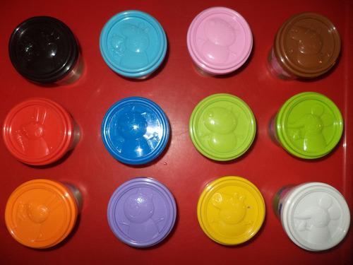 set plasticnas  peppa pig, 12 frasos de diferentes colores