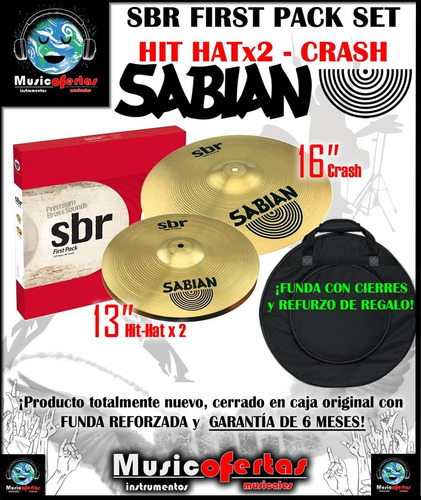 set platillos sabian sbr first pack hi-hats + crash + funda