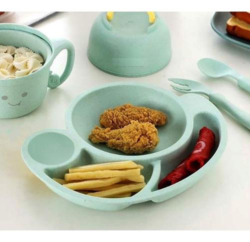 set plato cubiertos infantil niños bebés caracol degradable