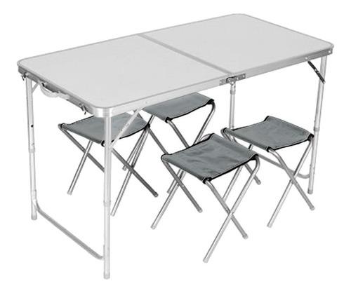 set plegable mesa + 4 bancos para camping maletin kushiro