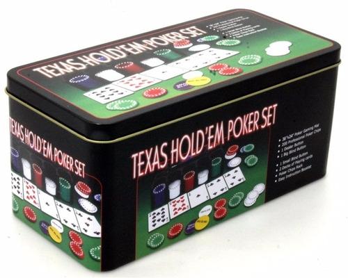 set poker 200 fichas + paño black jack texas holdem / 80131