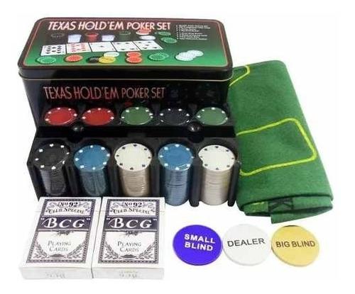 set poker 200 fichas + paño black jack texas holdem