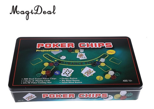 set poker 300 fichas caja metal cartas magideal