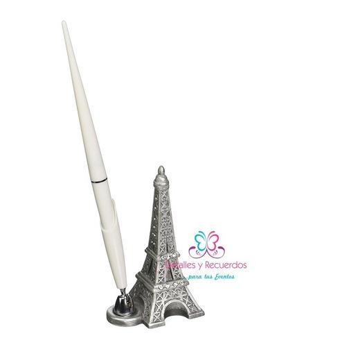 set porta pluma torre eiffel  xv alños bodas comunion baby