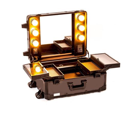 set profesional de maquillaje, camerino portátil  luz, silla