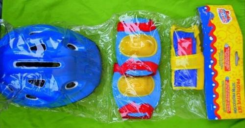 set proteccion casco niño rodillera codera muñequera juguete