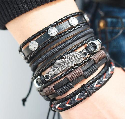 set pulsera manilla brazalete cuero natural hombre mujer