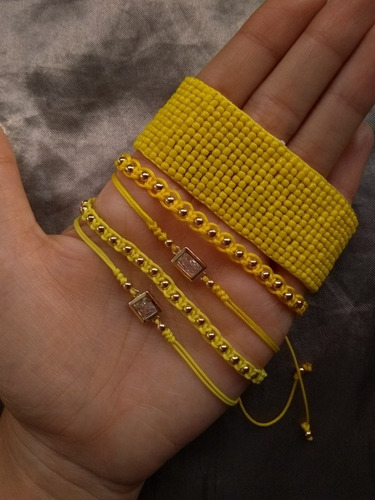 set pulseras 360mil mostacilla borlas tipo miyuki goldfilled
