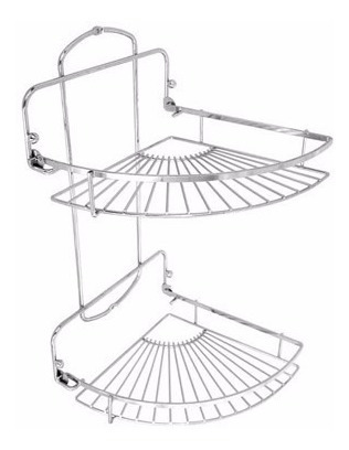 set rack organizador baño 2 estante cromado rinconero !!