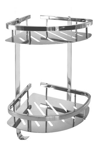 set rack organizador baño rinconero acero inoxidable