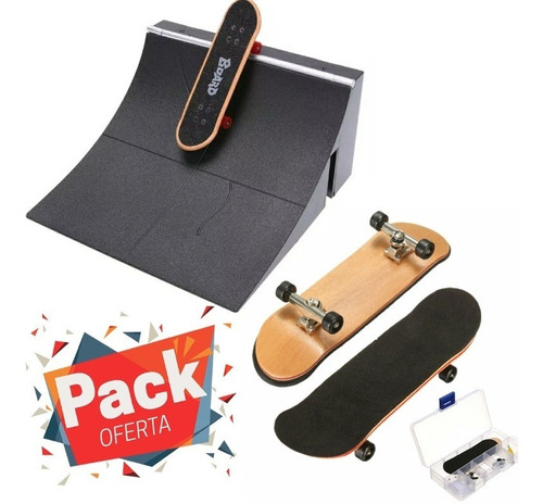 set rampa + fingerboard profesional madera skate rodamiento