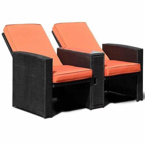 set reclinable patio & jardín 3 piezas de mimbre