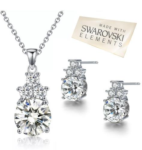 set regalo collar y aretes cristal swarovski certif, colores