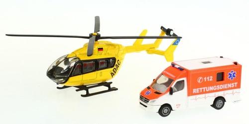 set rescate helicóptero + ambulancia escala 1:87 siku 1850