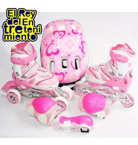 set rollers aluminio + casco + 6 protecciones + bolso el rey
