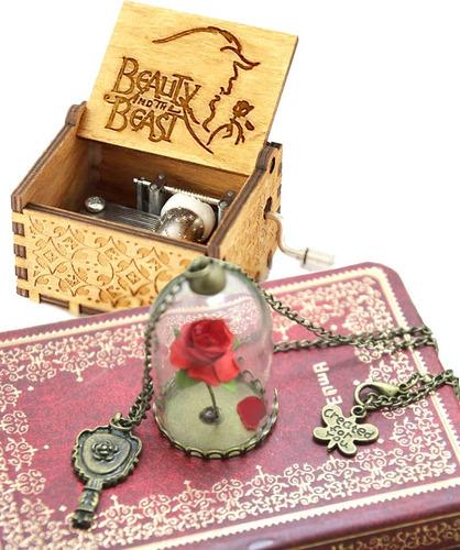 set rosa encantada de la bella y la bestia mas cajia musical