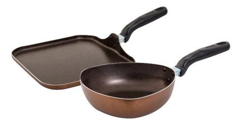 set sarten mas tipo wok + plancha para asar imusa triforce