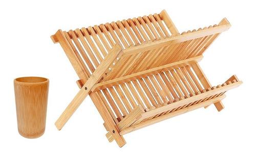 set secaplatos escurridor bamboo bambu con cubiertero