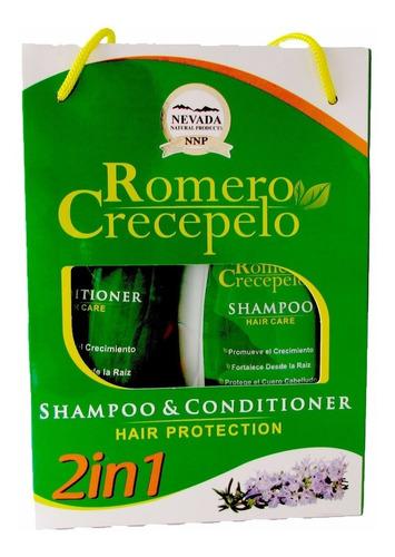 set shampoo y acondicionador romero crecepelo nevada