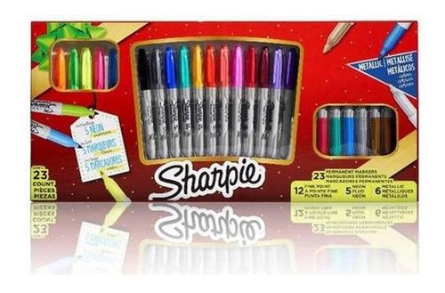 set sharpie 23 piezas edición gift - 12 finos 5 neón 6 metal