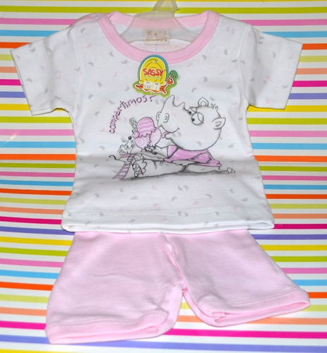 set short + remera sassy ultimo rosa 18 mes little treasure.
