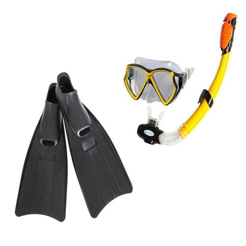 set snorkel intex aviator careta vidrio templado rompeolas