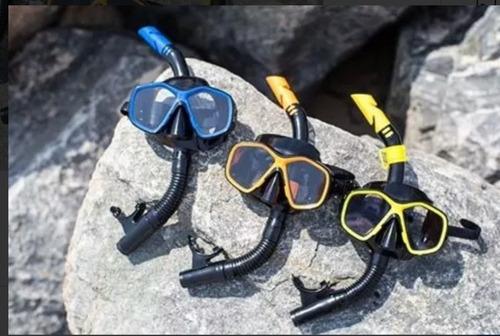 set snorkel + máscara de buceo, correa ajustable 4 colores