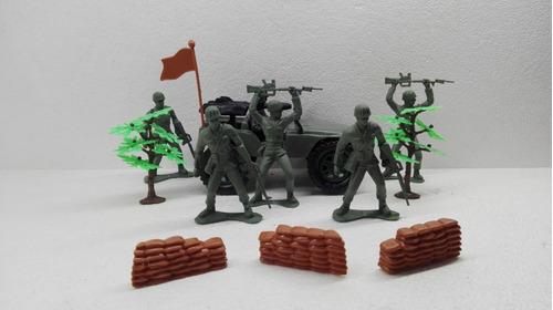 set soldaditos jeep willys y armas tipo antaño bootleg