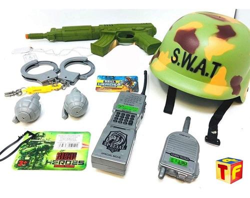 set soldado swat mililtar disfraz casco ametralladora cadia