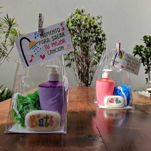 set spa bolsa cristal pvc baño dispenser jabon dia madre