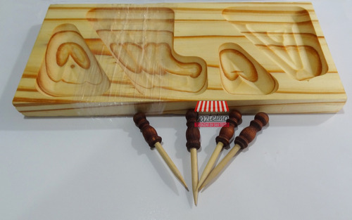 set tabla madera picadas + 4 pinches copetin copetinero mesa