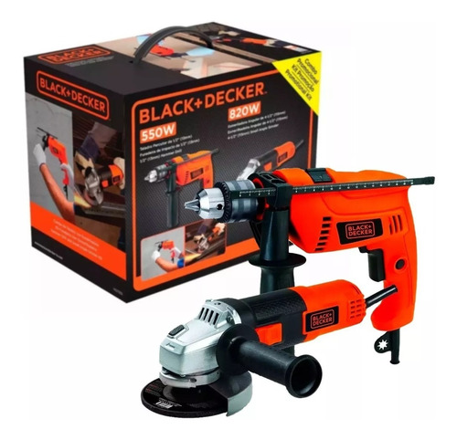 set taladro percutor + amoladora angular black decker hg7255