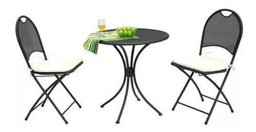 set terraza mesa y 2 sillas plegables jardin muebles ea