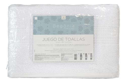 set toallas 2 de baño grandes, 2 de rostro y 1 tapete - begônia - 100% algodón