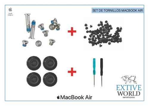 set tornillos cauchos tapa para macbook, pro, air, retina.