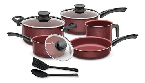 set tramontina paris granito 10 pzs rojo ollas sarten cocina