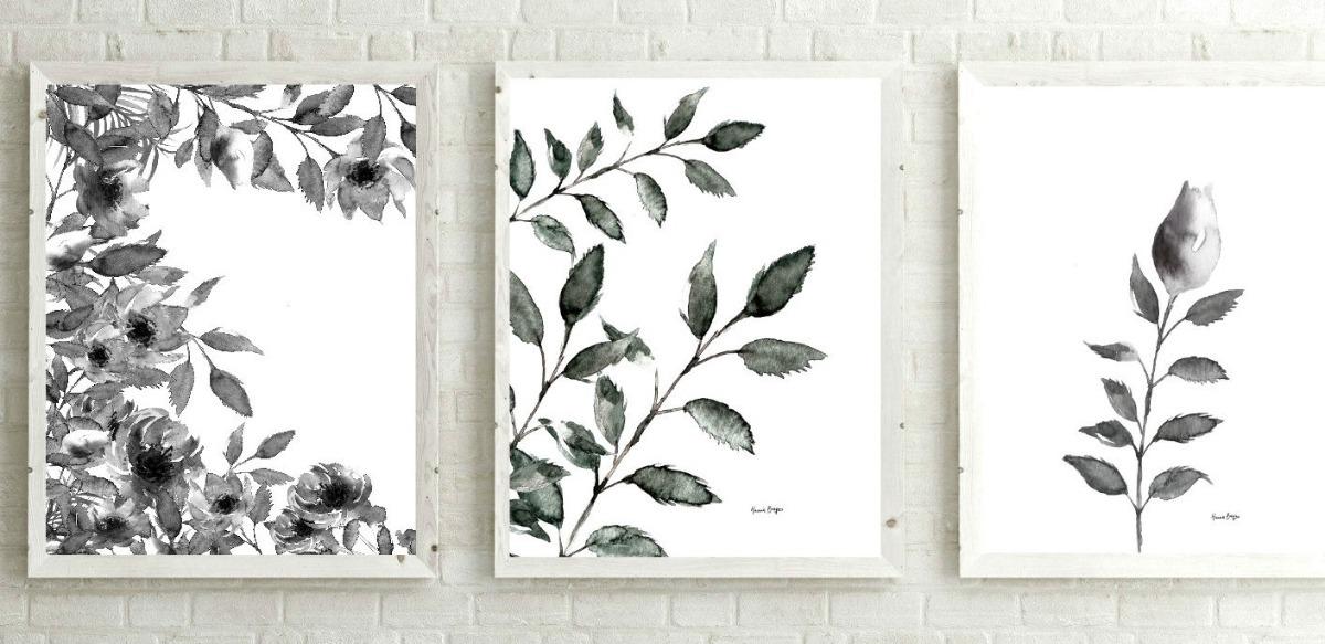 Set Tres Láminas Botánica Rosas Minimalista Blanco Y Negro - $ 461 ...