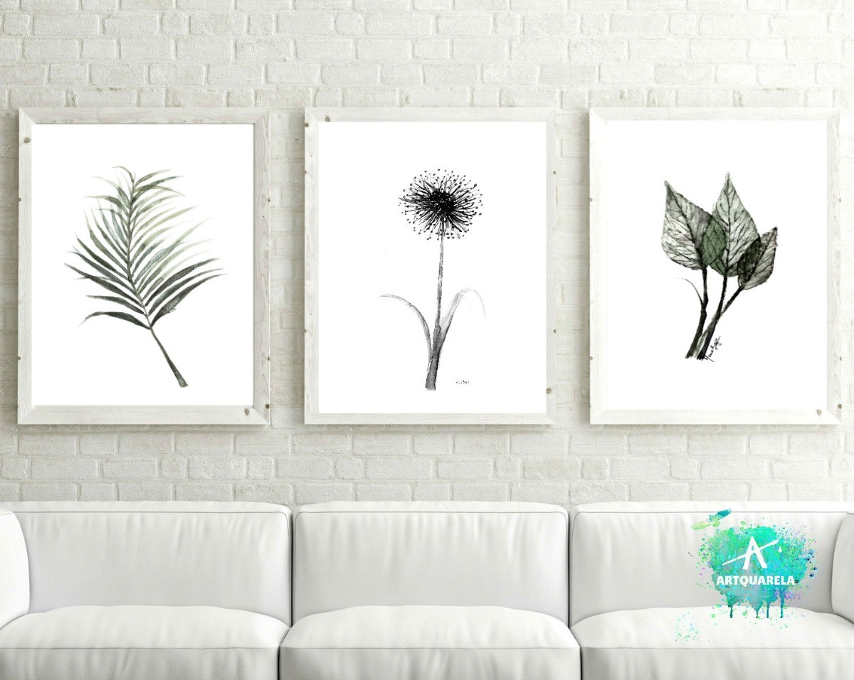Set Tres Láminas Decor Botánica Minimalista Blanco Y Negro - $ 507 ...