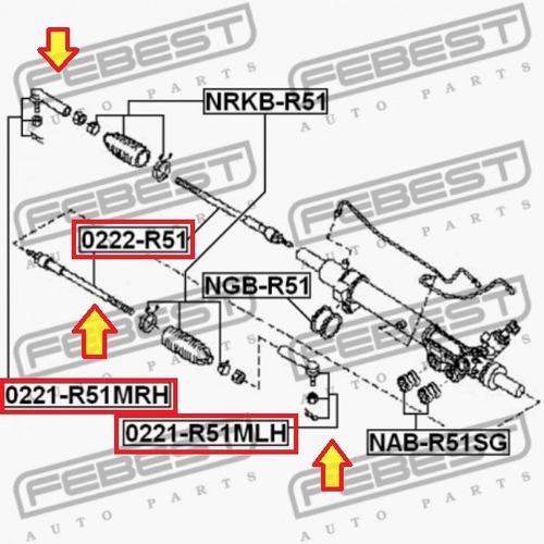 set un (1) terminal y una (1) rotula nissan pathfinder r51