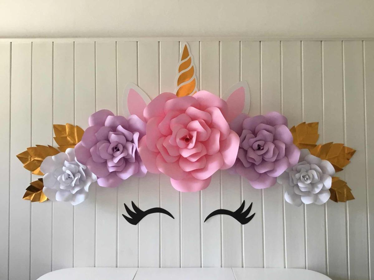 Set Unicornio 5 Flores De Papel 900 00 En Mercado Libre