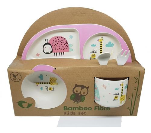 set vajilla niños bebes 5 piezas fibra bambu baby shower