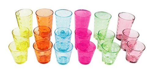 set vasos de colores 3 tamaños 18 pzs euroline 757450543709