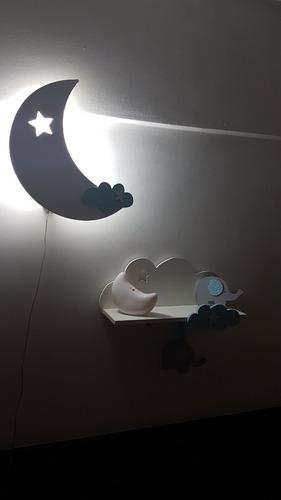 set velador+ estante+perchero bebe luna nube estrella