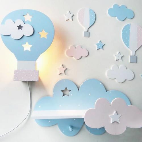 set velador + estante  perchero luz de noche bebe