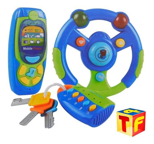 set volante telefono celular y llavero llaves sonidos luz