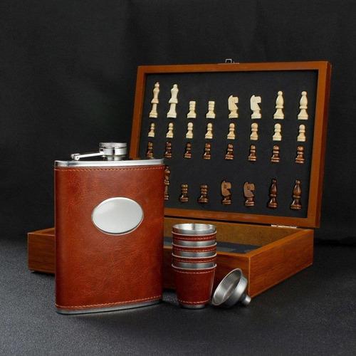 set wiskera 8oz ajedrez en madera con 4 copas dq385