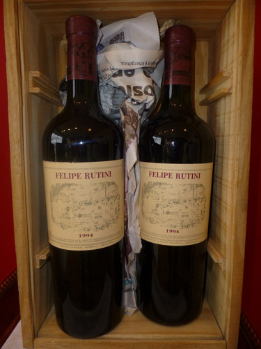 set x 2 vinos felipe rutini cosecha 1994 en caja de madera
